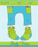 Baby Boy arrival announcement card. With funny socks Stock Image