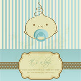 Baby boy arrival announcement card. Or label design Stock Image