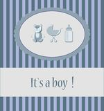 Baby boy arrival announcement card. Baby boy arrival announcement card with design element Royalty Free Stock Photo