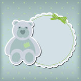 Baby boy arrival announcement  card. Vector frame Royalty Free Stock Images