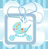 Baby boy arrival announcement card. Greetings invitation card Royalty Free Stock Photos