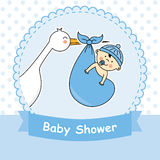 Baby boy. Arrival announcement card. Baby shower stock illustration