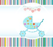 Baby boy arrival announcement card. vector. Vector illustration. happy birthday theme. baby boy arrival announcement card with cute flowers and hearts Royalty Free Stock Image