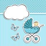 Baby boy arrival announcement. Editable  illustration Stock Photos