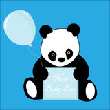 Baby boy arrival announcement panda Royalty Free Stock Photography
