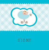 Baby boy arrival announcement retro card Stock Photo
