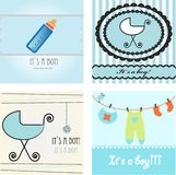 Baby boy arrival announcement set. Royalty Free Stock Photos