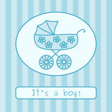 Baby boy arrival announcement (vector). Baby boy arrival announcement card. Vector illustration Stock Photo