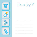 Baby boy arrival card stock images