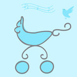 Baby Boy Arrival Card. With a pram and singing bird Stock Photo