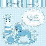 Baby boy arrival card. Baby boy arrival card with toys Stock Photo