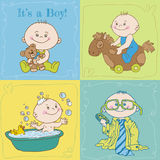 Baby Boy Arrival Card or Baby Shower Card Stock Photography