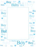 Baby boy arrival card / background. Cute blue frame / border with baby boy text and heart Royalty Free Stock Image