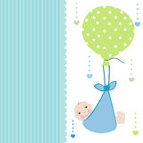 Baby boy arrival card with balloon greeting vector Stock Images