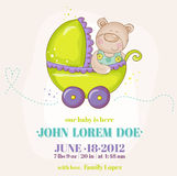 Baby Boy Arrival Card. Baby Bear in Carriage - in vector Royalty Free Stock Images