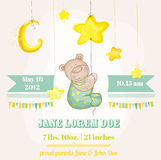 Baby Boy Arrival Card. Baby Bear with Moon and Stars - in vector Royalty Free Stock Image