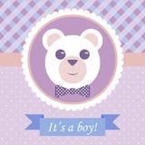 Baby Boy Arrival Card. With Bear. Vector Retro Design Royalty Free Stock Image
