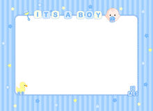 Baby boy arrival card border Royalty Free Stock Images