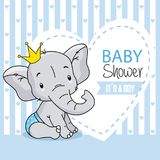 Baby boy arrival card. cute baby elephant. Space for text stock illustration