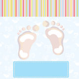 Baby boy arrival card with footprint Royalty Free Stock Photo