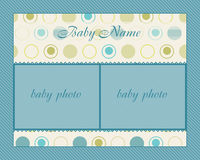 Baby Boy Arrival Card with Frame Stock Image