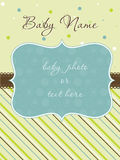 Baby Boy Arrival Card with Frame. Baby Boy Arrival Card with foto Frame Stock Images