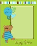 Baby Boy Arrival Card with Frame Stock Photos