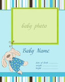 Baby Boy Arrival Card with Frame. Cute Baby Boy Arrival Card with Frame for baby photo stock illustration