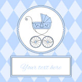 Baby boy arrival card or invitation with retro styled baby carriage and place for text, vector illustration Royalty Free Stock Images