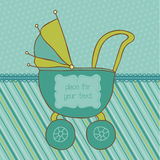 Baby Boy Arrival Card with Photo Frame Stock Photo