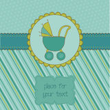 Baby Boy Arrival Card with Photo Frame. And place for your text in Stock Photos