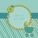 Baby Boy Arrival Card with Photo Frame. And place for your text Royalty Free Stock Image