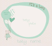 Baby Boy Arrival Card with PhotoFrame Stock Photography