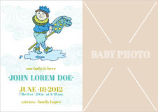 Baby Boy Arrival Card. With place for your text and photo - in vector stock illustration