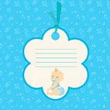 Baby boy arrival card or shower card. Place for text. Cartoon Baby boy arrival card or shower card. Place for text. Stock vector illustration Stock Photo