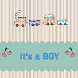 Baby boy arrival card shower invitation Stock Photography