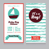 Baby boy arrival cards in nautical style vector illustration