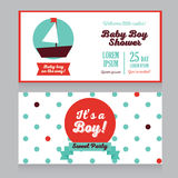 Baby boy arrival cards in nautical style Stock Photo