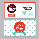 Baby boy arrival cards template with  cute whale. Baby boy arrival cards template with hand drawn marine stripes ornament and cute whale, vector illustration Stock Photos