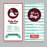 Baby boy arrival cards template with  cute whale. Baby boy arrival cards template with hand drawn marine stripes ornament and cute whale, vector illustration Royalty Free Stock Photography
