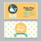 Baby boy arrival cards template with  cute whale. Baby boy arrival cards template with and cute whale, vector illustration Royalty Free Stock Images