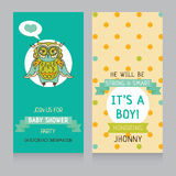 Baby boy arrival cards template Royalty Free Stock Images