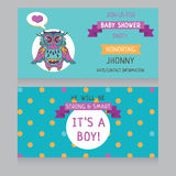 Baby boy arrival cards template Royalty Free Stock Photos