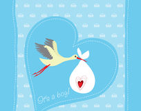 Baby boy arrival greeting card. Baby boy arrival announcement card vector illustration Royalty Free Stock Photography