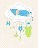 Baby boy arrival greeting card. Baby shower invitation newborn vector illustration Royalty Free Stock Photo