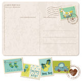Baby Boy Arrival Postcard with set of stamps Stock Image