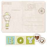 Baby Boy Arrival Postcard with set of stamps Royalty Free Stock Photography