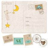 Baby Boy Arrival Postcard with set of stamps. Baby Boy Arrival Postcard with set of nice stamps royalty free illustration