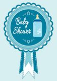 Baby boy arrival, shower, greeting, announcement card with milk bottle. Baby shower invitation card. Vector sticker illustration,. Postcard Stock Photos