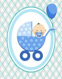 Baby, boy, Asia, postcard, blue lines, rhombuses, vector. A little boy in a blue stroller. A blue ball is tied to the stroller. Color, flat card. Congratulation Royalty Free Stock Photos